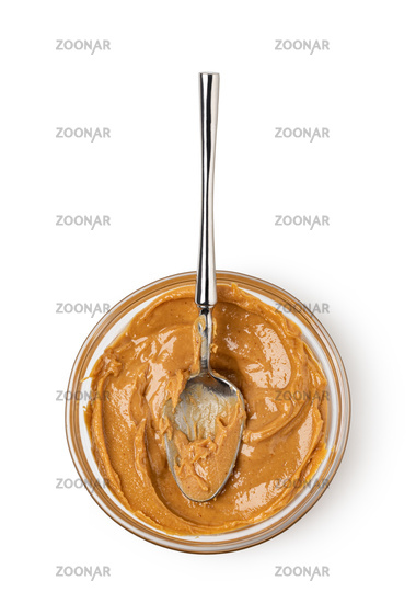 Creamy peanut butter in spoon