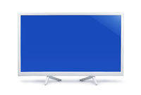White wide screen LED TV with blank blue screen