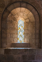 Stained glass windows in the Thonoret abbey in the Var in France