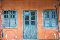 Front of an old shophouse in the Chinatown of Kuching on Borneo