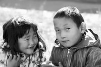 Portrait of two children in the Mongolian capital Ulaanbaatar, photo taken in 1977