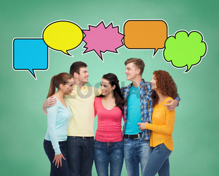 group of smiling teenagers with text bubbles