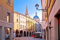 Mantova idyllic italian city street and church towers view