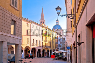 Mantova idyllic italian city street and church towers view