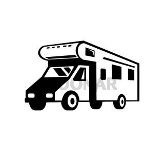 Campervan Motorhome Caravan Car Viewed from Side Retro Black and White