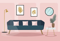 Velvet sofa in the living room. Modern trendy interior design. Plant in the room, retro furniture. Vector illustration