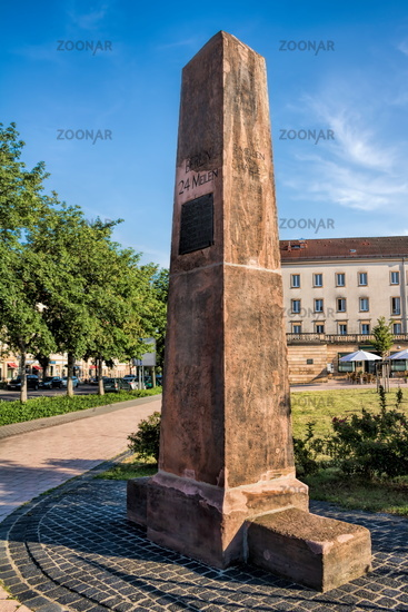 Merseburg, Germany - 06/18/2019 - historic milestone on the station square
