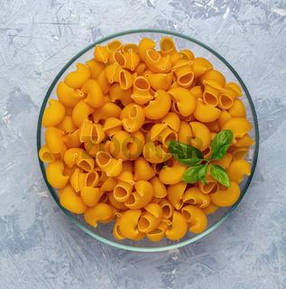 Raw italian pasta Pipe Rigate.