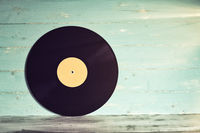 Vintage yellow vinyl record isolated