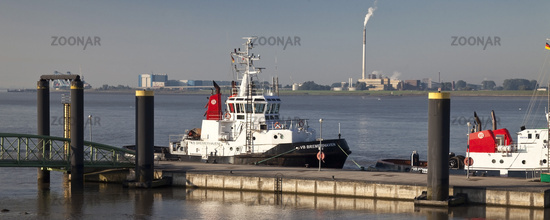 Ships at the tug pier, Weser, Bremerhaven, state of Bremen, Germany, Europe