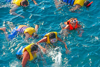 People diving in sea with masks and life jackets