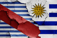 flags of Canelones Department and Uruguay painted on cracked wall