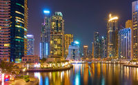 Skyscrapers of Dubai Marina at night