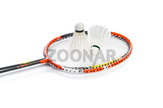 Badminton rackets and feather shuttlecocks