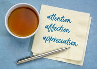 attention, affection, appreciation to make somebody happy