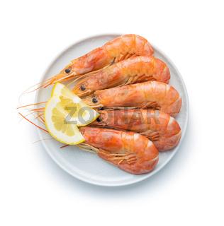 Boiled tiger prawns with lemon on plate. Tasty shrimps.