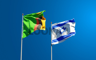 Beautiful national state flags of Zambia and Israel together at the sky background. 3D artwork concept.