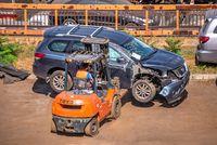 Broken cars for export in the Cargo Port of Odessa, Ukraine