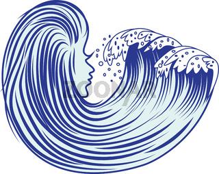 Cartoon sea wave