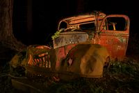 Abandoned Antique Truck Rusting in the Forest at Night
