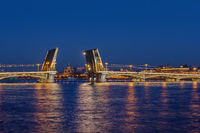 Neva river and open Blagoveshchensky Bridge - Saint-Petersburg Russia