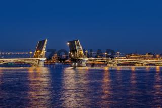 Neva river and open Blagoveshchensky Bridge - Saint-Petersburg Russia
