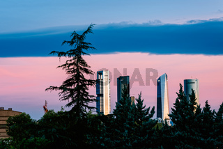 Panoramic view of Cuatro Torres Business Area in Madrid