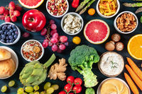 Vegetarian food variety. Fruit and vegetables, cheese, legumes, nuts, mushrooms, shor from the top