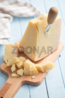 parmesan cheese on cutting board