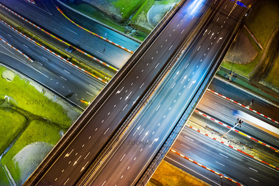 Highway at night aerial view