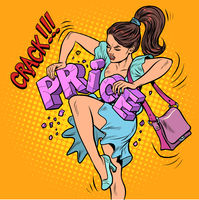 A woman breaks prices. Discounts and sales concept