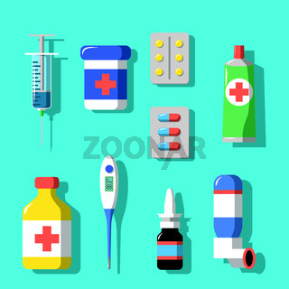 Medicine and drugs icons set with shadows. Flat style vector illustration