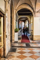 Vicenza, Italy - March 19th, 2019 - Arcades with shops in the old town