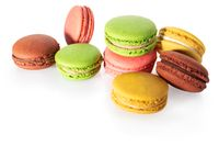 Beautiful colorful macaroons isolated on white background