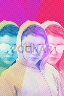 Art collage with alternative funky girl with overlay effect on bright multicolors background. Close up fashion portrait young beautiful woman in hoodie and white glasses. Unusual youth fashion concept