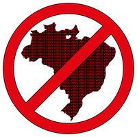 Brazil silhouette with the word virus in prohibitory sign