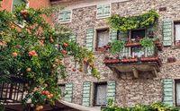 Italian street old architecture in Lazise, town on Garda lake