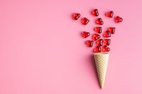 Red hearts and ice cream cone.