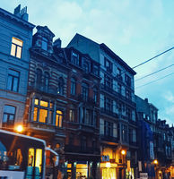 Streets of Brussels, the capital city of Belgium, european architecture and historical buildings at night