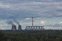 cooling tower of the power plant, Russia, Novosibirsk