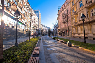 Belgrade. Cobbled streets in historic Beograd city enter view