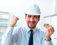 Man in bitcoin mining business concept