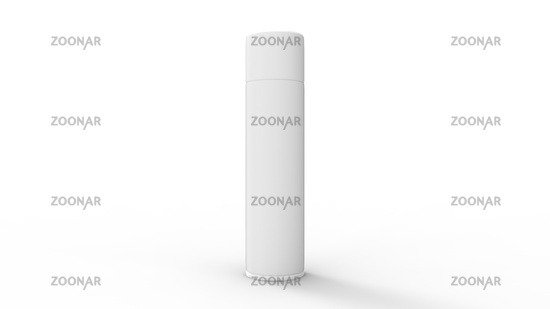 3D rendering of a spray can packaging industrial template isolated