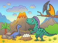 Dinosaurs near volcano image 2