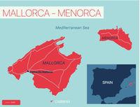 Mallorca-Menorca islands detailed editable map