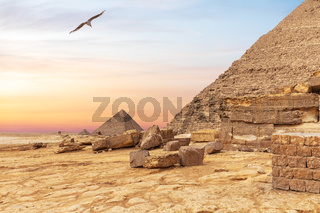Foot of the pyramid of Khafre and the Pyramid of Menkaure in the background, Giza, Egypt