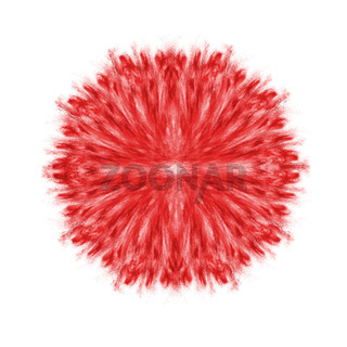 Red powder splash, symmetrical round pattern.