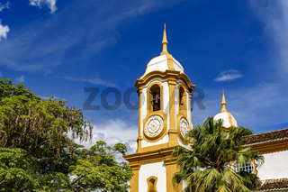 18th century baroque church tower in Tiradentes city