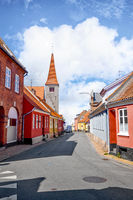 Village with a church in Denmark