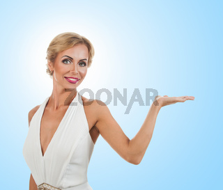 Woman showing something on the palms of her hands
